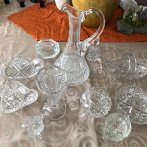 Cut glass, vases, wine decanter, dishes