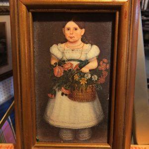 original oil painting, girl, basket