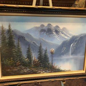 r paul, original oil painting, landscape, mountains, snow