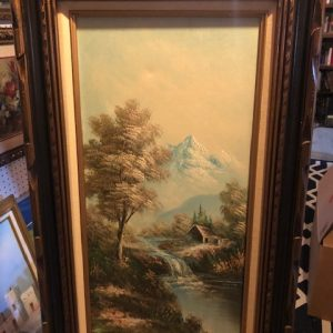 K Greek , oil painting, snow capped mountain