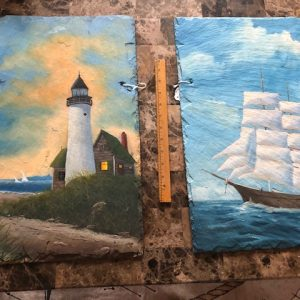 slate painting, ship at sea, lighthouse