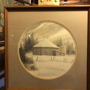 snow, barn, oval map, print