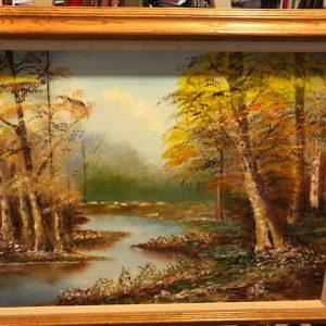 Irene Shea, original oil landscape, stream, forest