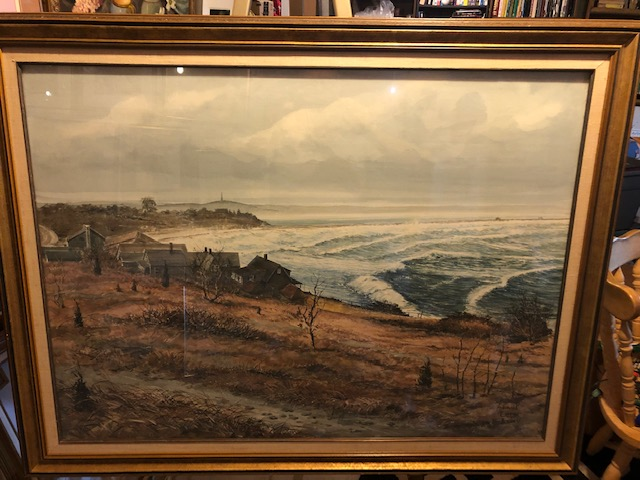 Samuel Emrys Evans, Original watercolor, Manter's Point,Warren Cove, Plymouth Ma